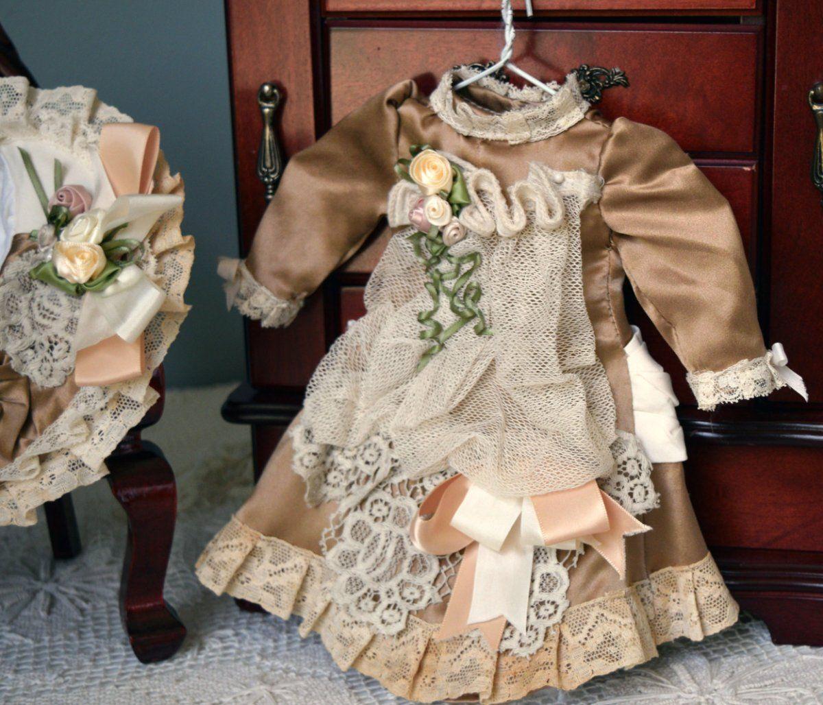 Vintage Tan Silk Doll Dress w/ Antique Laces 4 11-14  BRU Jumeau Steiner Kestner