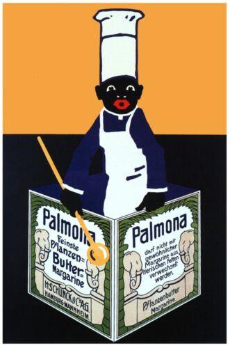 6456.Palmona.black male chef with apron holding menu.POSTER.art wall decor