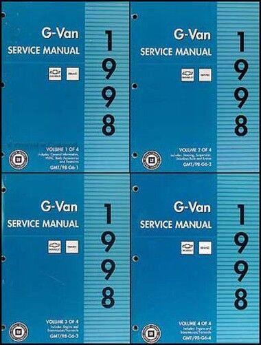 1998 Chevy Espresso Gmc Savana G Furgone Negozio Manuale Set 98 G1500 G2500 Rendere Le Cose Convenienti Per I Clienti