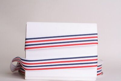 "BLUE STRIPES JULY 4TH MEMORIAL 1/"" OFF WT Grosgrain Ribbon 1,3,5,10 YD HAIR BOW"