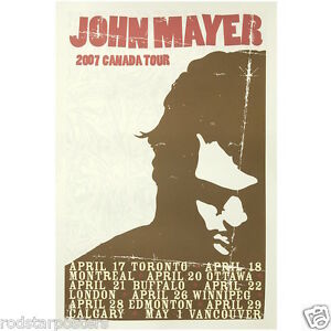 0459 Vintage Music Poster Art John Mayer 2007 Canada Tour