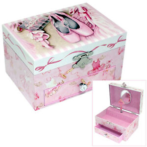 GIRLS PINK BALLET SHOES THEMED MUSICAL JEWELLERY BOX SPINNING BALLERINA FIGURINE