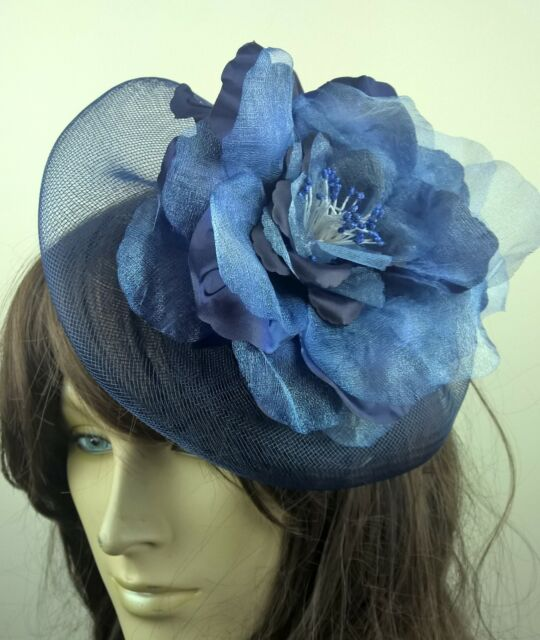 navy blue satin flower fascinator millinery burlesque wedding hat bridal race