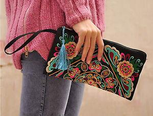 Women-Lady-Cotton-Bohemia-Embroidery-Zipper-Phone-Clutch-Bag-Evening-Handbag