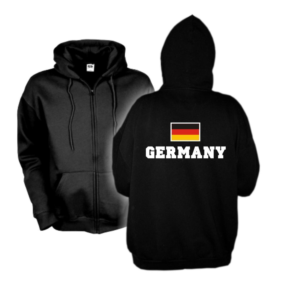 Kapuzenjacke GERMANY Flagshirt Zip Hoodie Fan Sweatjacke S-6XL (WMS02-02e)
