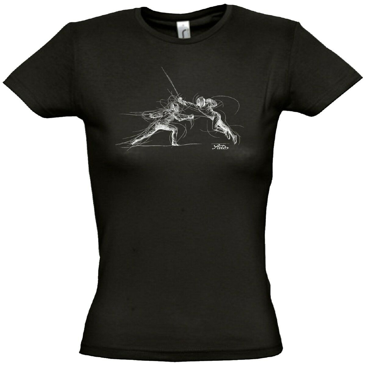Artos Fechtmotiv Women Camiseta womenes Deporte Ocio whiteo y black 5603