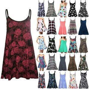 New Ladies Womens Floral Printed Cami Summer Swing Mini Dress Top Plus Size8-26