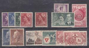 Australia-QEII-1950s-Collection-of-15-Values-Mint-VFU-J1271