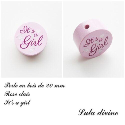 Perle plate It/'s a girl Coeur /& tétine : Rose clair Perle en bois de 20 mm