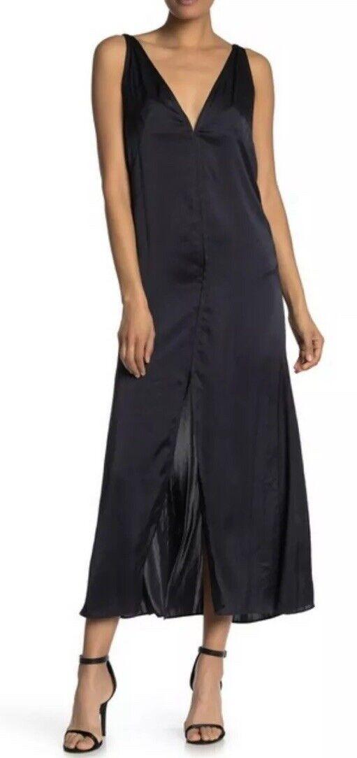 Teori Bralette V Maxi Woherrar Dress Storlek 6 Navy Silk Satin Slit Gown Long