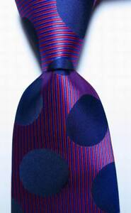 New-Classic-Striped-Dot-Blue-Red-JACQUARD-WOVEN-100-Silk-Men-039-s-Tie-Necktie