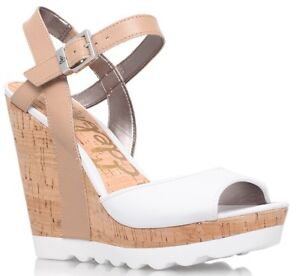 Sam Edelman Karina White Wedge Sandals W Platform Cork