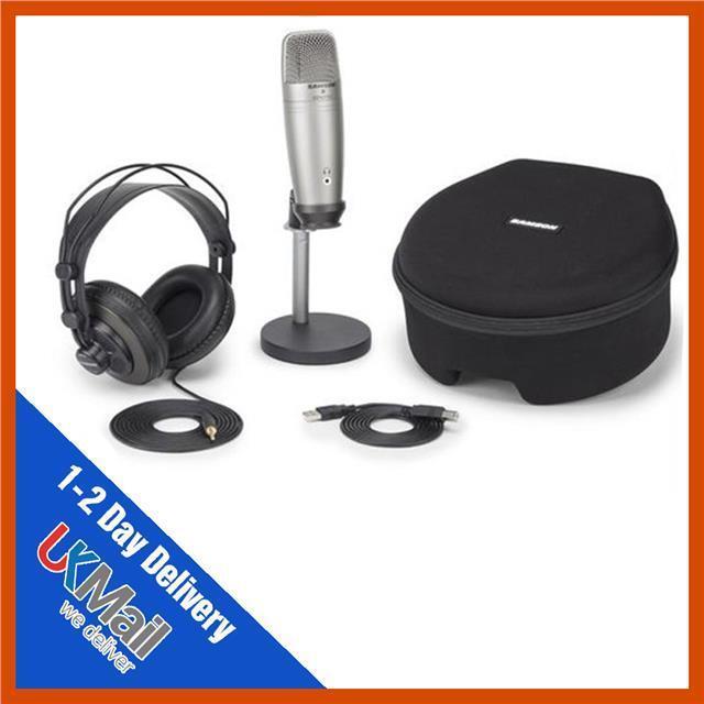 Samson CO1U Pro Podcasting Pak USB Condenser Microphone SR850 Headphones & Stand