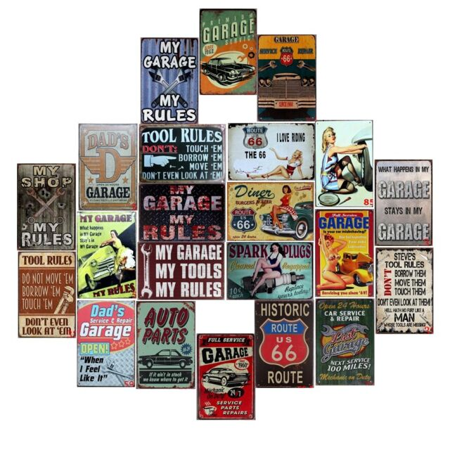 Retro Plate My Garage My Rules Vintage Metal Tin Signs Bar Art Decor Wall Poster