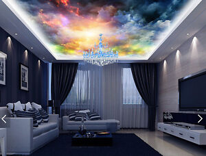 3d Colorful Cloud Ceiling Wallpaper Murals Wall Print Decal Deco