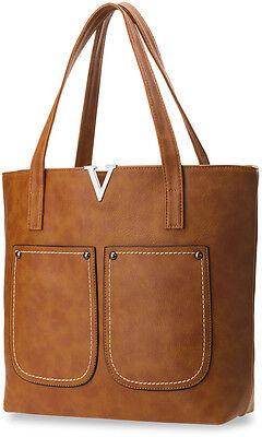 elegante Damentasche Shopperbag mit Nebentaschen schwarz