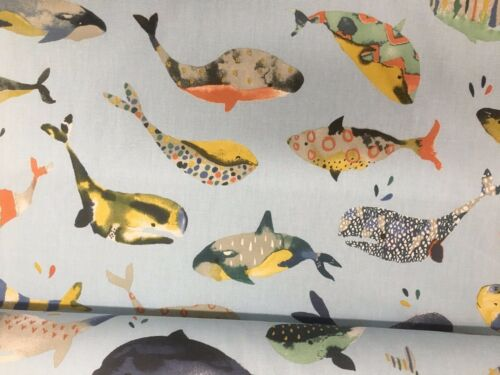 Whale Watching  Ocean  Blue 140cm wide Curtain//Craft Fabric