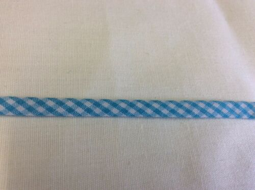 TURQUOISE & WHITE GINGHAM SPAGHETTI BIAS TUBING 6 13 YARDS