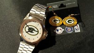 2-PC-SET-Green-Bay-Packers-LogoArt-Wristwatch-amp-Super-Bowl-31-G-B-Earrings-NEW