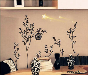 diy wall decor decals sticker removable vinyl art mural bird cage trees black wn. Black Bedroom Furniture Sets. Home Design Ideas