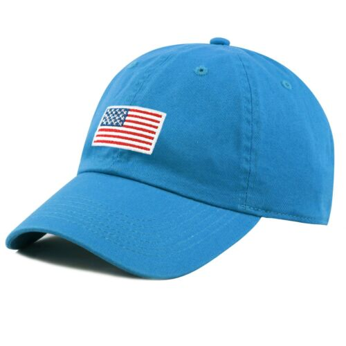USA// Flag Embroidered Washed Cotton Low Profile Baseball Cap Cotton Hat