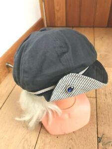 MONSOON ACCESSORIZE BLUE GREY STRIPE BAND BAKER BOY PEAKED HAT CAP DIAMANTE
