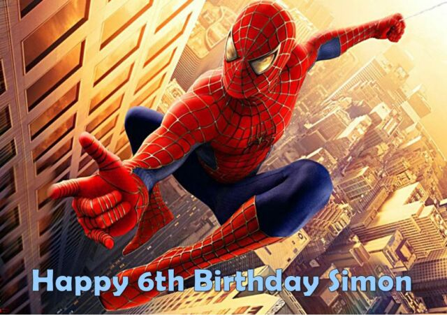 Personalised A4 Spiderman Edible Wafer Paper Cake Topper