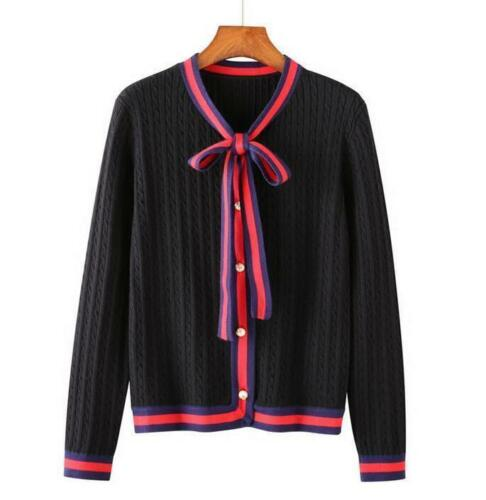 Women's Bowknot Pearl Button Long Sleeve Cardigan S5 Knit Shirts Sweater Tops