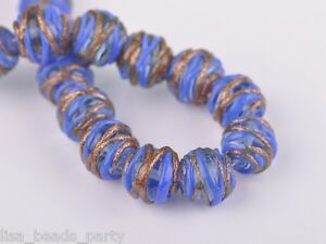 5pcs-14mm-Round-Twine-Handcraft-Lampwork-Glass-Beads-Jewelry-Finding-Deep-Blue