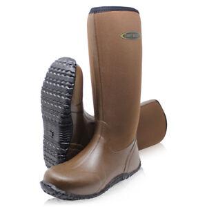 Dirt-Boot-Unisex-Neoprene-Wellington-Muck-Field-Fishing-Boots-Wellies-Brown