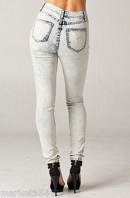 PLUS Size Light Acid Wash High Rise Jeans SKINNY Vintage DENIM BIG Women Stretch