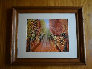 Framed-Matted-Limited-Edition-Appalachain-Sun-Rise-On-Autumn-Signed-Art-Print