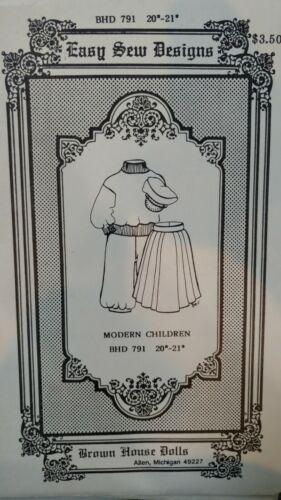"BROWN HOUSE DOLL PATTERN BHD 791 MODERN CHILDREN 20/"" 21/""  SKIRT SWEATSHIRT PANT"