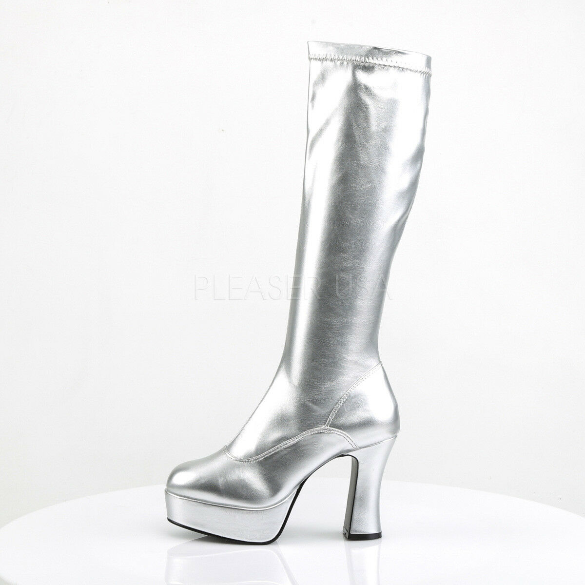 White 70s Disco Chunky Platform Disco GoGo Dancer 60s Hippie Hippie Hippie Costume Boots Woman 252c10