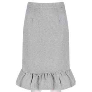 Mother-of-Pearl-Grey-Marl-Jersey-Flared-Hemline-Pencil-Skirt-UK8-IT40