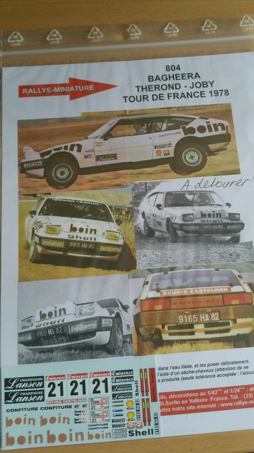 Aufkleber 1   18 ref 804 matra simca simca simca baghira.    rond tour de france 1978 - rallye 0ff2c0