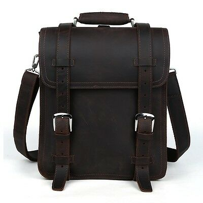 "Large Leather Backpack 14"" Laptop Men's Hiking Travel Camping Shoulder Bag Carry"