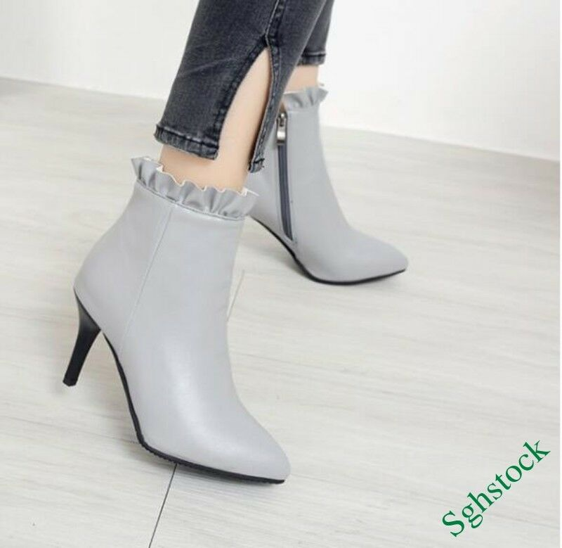 Stylish Women's Ankle Boots Side Zip Pointy Toe shoes OL US4.5-12.5 3colors Size