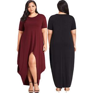 034c822439b Plus size hi-lo slit jersey knit maxi evening dress high low womens ...
