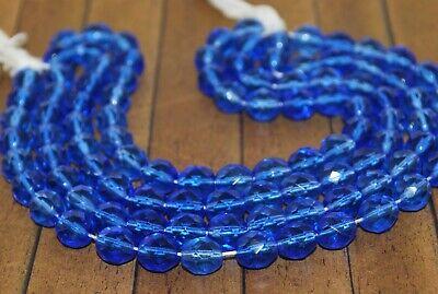 8mm Blue Round Druk Czech Glass Beads CG0033