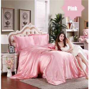 Comfortable-Satin-Silk-Fitted-Sheet-Bed-Flat-Sheet-Set-Bedding-Set-Pillow-Case