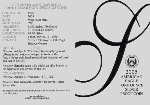 One Troy oz .999 Bullion 2005-W Proof American Silver Eagle Coin