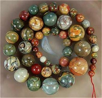 Natural 6-14mm Multicolor Picasso Jasper Beads Necklace AAA##QF504
