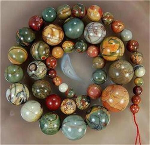 6-14 mm naturel multicolore Picasso Jasper perles collier AAA # QF504