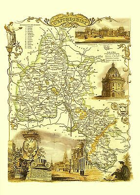 OXFORDSHIRE Thomas Moule Printed Replica of 1842 County map 40cm x 30cm