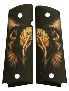 Custom-Full-Size-1911-Grips-Ambidextrous-Reaper-039-s-Hand-for-Colt-Kimber-Ruger-etc