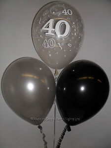 Image Is Loading 15 Table Party Kit 40th Birthday Helium Balloons