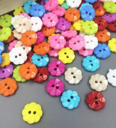100 Pcs Mixte Fleur 2 Trous Acrylique Boutons fit à coudre et scrapbooking 13 mm