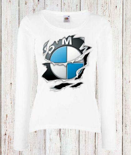 LADY//DAMEN T-SHIRT BMW M POWER Torn 2 Ripped LOGO CAR LANGARM//KURZARM WHITE
