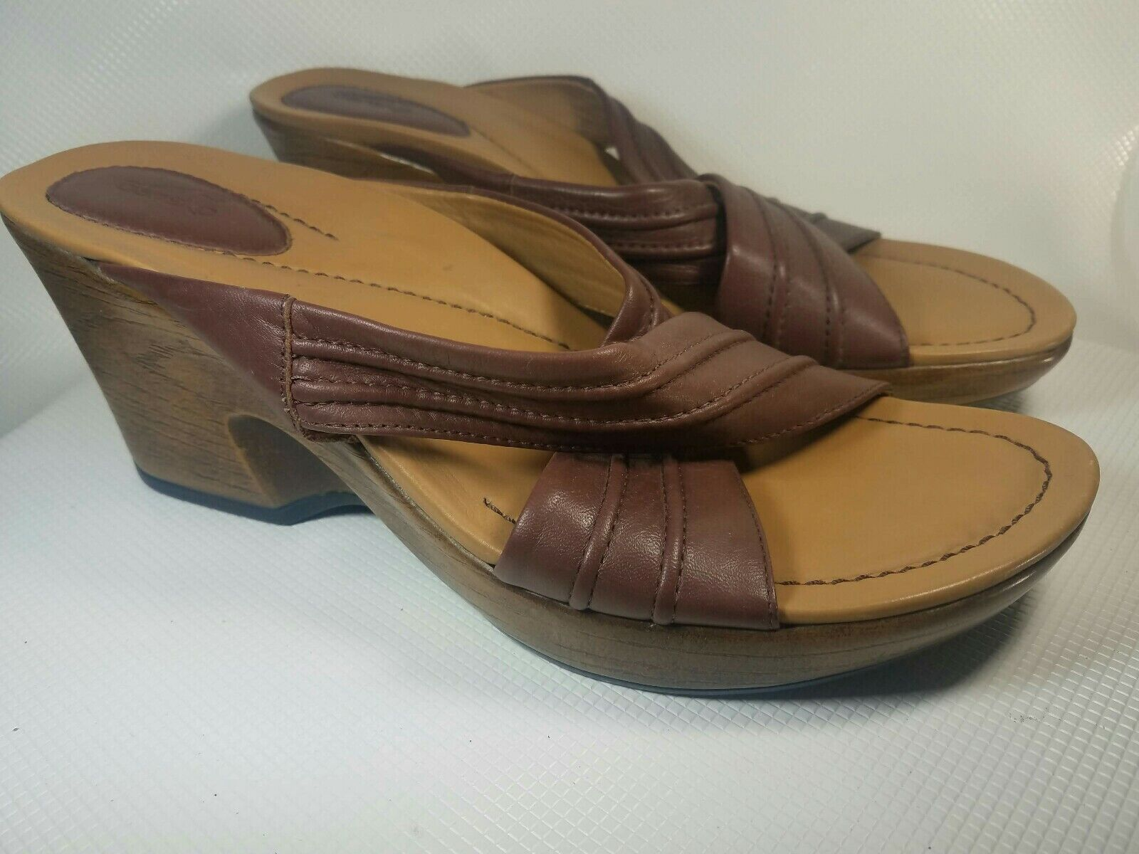 c346a170bd7 Dansko Nolita Brown Leather Slip On Crisscross Strap Wedge Sandal ...